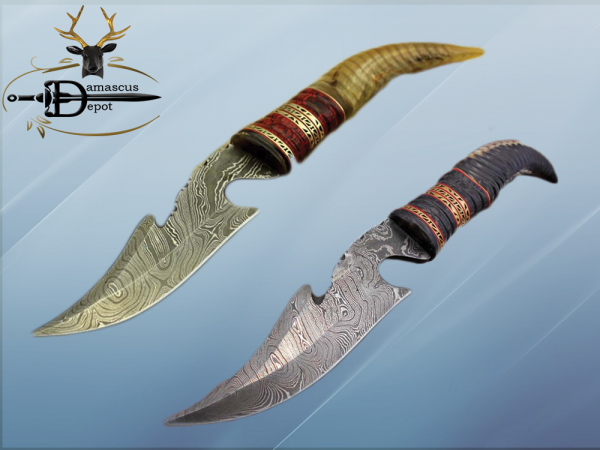 """13"""" Long hand forged Damascus steel gut hook Skinning Knife, Custom made Round engraved jigged scale Crafted with engraved Brass spacer, Cow hide Leather sheath"""