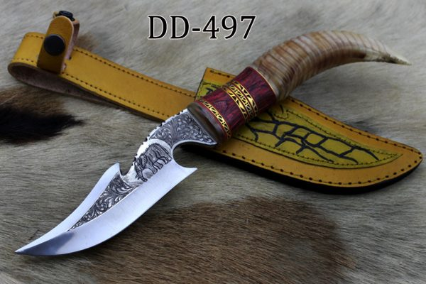 """13"""" Long gut hook Skinning Knife with hand engraved elephant graphic on steel, Custom made Round jigged horn tail scale Crafted with engraved Brass spacer, Cow hide Leather sheath"""