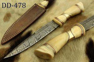 "13"" carved camel bone W/Brass scale Damascus Steel skinning knife, Cow sheath"