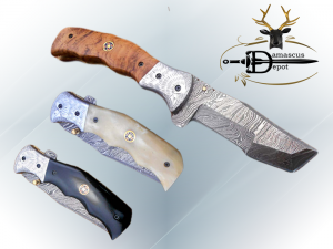 """Folding knife Tracker blade knife with Engraved bird on steel bolster, 8"""" Hand forged Damascus steel, Available in 3 scales, Equipped with Brass Liner lock, Cow hide Leather sheath with belt loop"""