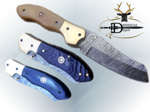 """8"""" Tanto blade folding knife, Hand forged Twist Pattern Damascus steel, Equipped with Thumb pin & liner lock, Available in 5 different scales, Cow hide Leather sheath included"""