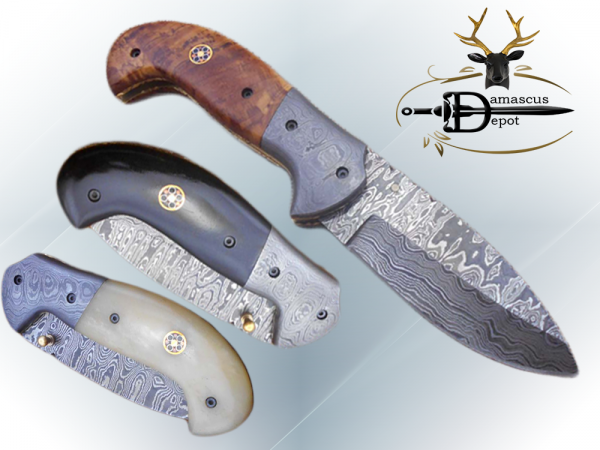 """Hand forged twist pattern Damascus steel 7.5"""" folding knife, Available in 3 scales options with Bolster, Pocket knife Equipped with Brass liner lock & thumb knob, Cow Hide Leather sheath"""
