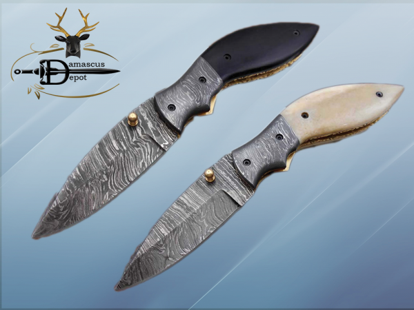 """7.5"""" Folding Knife, 3.5"""" Legal Hand Forged Twist Pattern Damascus Steel Blade, Black and White Scales Available, Pocket Knife, Liner Lock & Thumb knob Equipped, Cow Hide Leather Sheath"""
