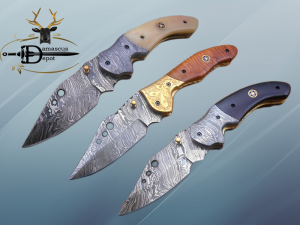 """7.5"""" Folding Knife, 3.5"""" Hand Forged Twist Pattern Damascus Steel Blade with 3 Holes, Available in 3 Scale colors Pocket Knife, Liner Lock & Thumb knob Equipped, Cow Hide Leather Sheath included"""