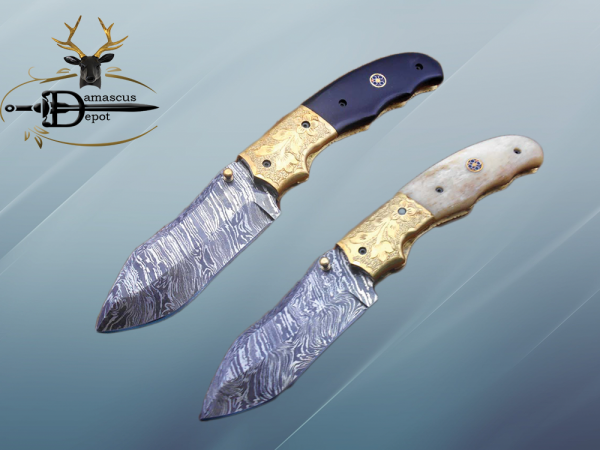 """8"""" Damascus steel folding pocket knife with plant Engraved on brass bolster, White & black colors scale, included leather sheath"""