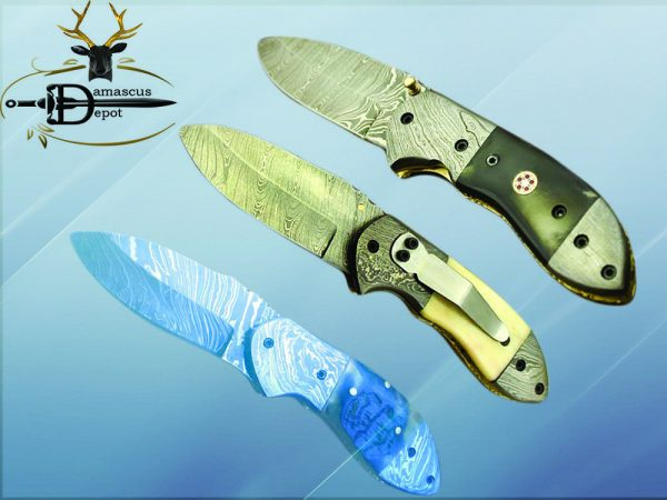 "Damascus steel 7"" folding knife, liner lock, thumb knob, Cow sheath, 4 Colors"