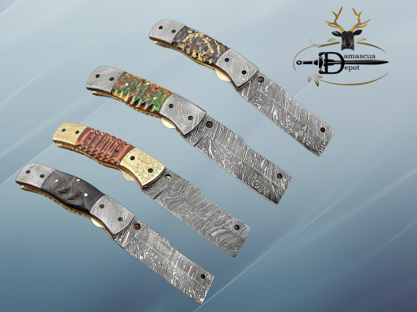 Damascus steel Tanto blade folding Pocket knife, Various colors scale with Damascus bolster, Cow leather Sheath included