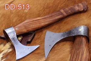 Damascus Depot Tomahawk Axe Bearded Hiking Battle Axe 15 Inches Long Hand Hammered Carbon Steel Axe with Rose Wood Round Handle, Thick Cow Hide Leather Sheath