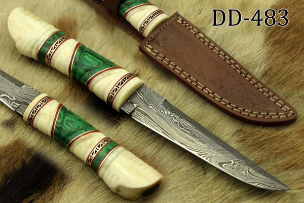 """10.5"""" Long Damascus steel hunting Knife hand forged, hand crafted exotic round scale scale with camel bone brass & fiber, Cow Leather sheath"""