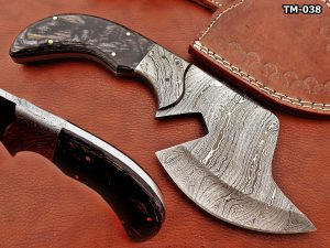 """9"""" hand forged Twist Pattern Damascus steel chopper, 2 tone Dollar wood scale compact cleaver, Leather sheath included"""