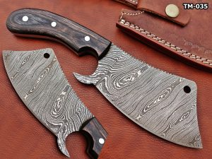 """9"""" hand forged Twist Pattern Damascus steel meat Cleaver, 2 tone black Dollar wood scale chopper knife, Leather sheath included"""