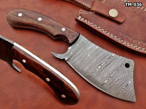 """9"""" hand forged Twist Pattern Damascus steel meat Cleaver, Natural Walnut wood scale chopper knife, Leather sheath included"""