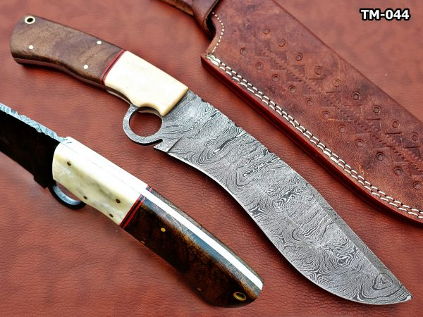 """13"""" Long hand forged Damascus steel Nessmuk machete with finger hole, Rose wood scale with inserting hole, Cow Leather sheath (Copy)"""