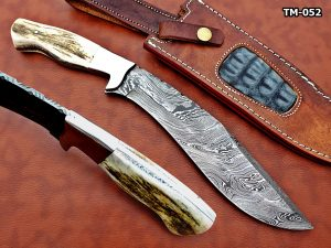 """Damascus Steel Kukri Knife 14 Inches custom made Hand Forged With 9"""" long blade, Stag Antler scale, Cow Leather Sheath"""