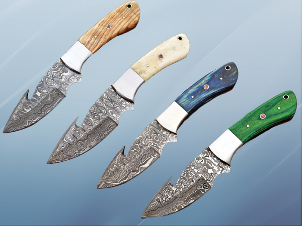 """9.5"""" long Damascus steel Gut hook skinning knife, Full tang Rain drop pattern blade, available in 4 colors, includes Cow hide Leather sheath"""