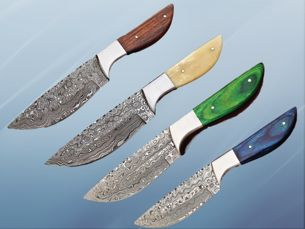 """9.5"""" full tang Rain drop pattern skinning knife, 5"""" straight back Damascus steel blade, Available in 4 colors, includes Cow hide Leather sheath"""