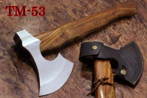 17 Inches long Hand Forg High polished steel Voyager Axe with Rose wood round handle, thick PVC sheath available