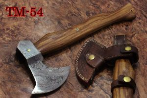 Damascus Steel Log Splitter Axe Bearded Hiking Battle Axe, 17 Inches Long Hand Forged Damascus Steel with Rose Wood Round Handle, Thick Cow Hide Leather Sheath Included