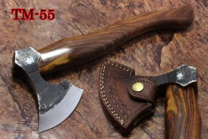14 Inches long Hand Forged high carbon steel Log splitter Axe with Rose wood round handle, thick Cow hide Leather sheath
