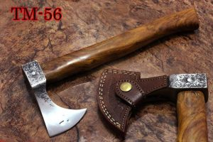 14 Inches long Hand Forged high carbon steel Voyager Axe with Rose wood round handle, thick Cow hide Leather sheath