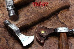 18 Inches long High carbon steel voyager axe with Hammer, Rose wood round handle, thick cow hide leather sheath included