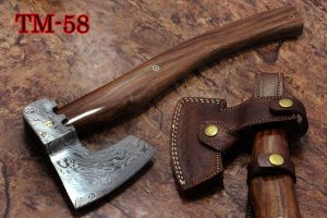 """17 inches long Damascus steel camping Axe with 4"""" Large cutting edge, Round Rose wood scale Handle, Leather sheath included"""