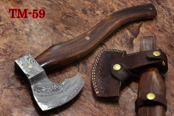 """17 inches long Damascus steel hiking Axe with 4"""" Large cutting edge, Round Rose wood scale Handle, Leather sheath included (Copy)"""