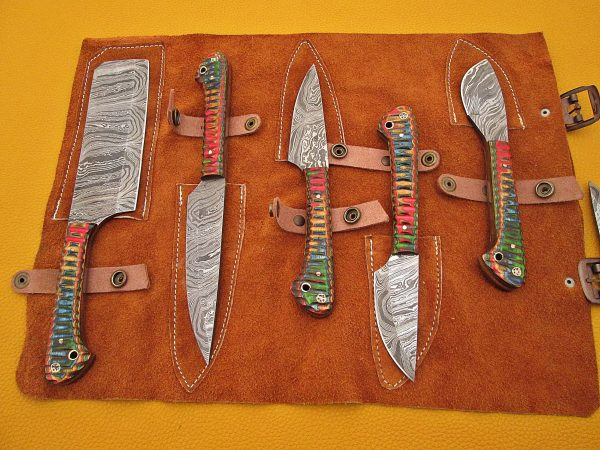 """5 Pieces Damascus steel kitchen knife set includes (10.6+9.6+9.0+8.0+7.6)"""" knives in Green Jigged wood scale, includes Roll able Leather suede sheath"""