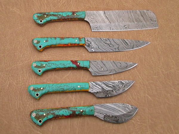 """5 Pieces Damascus steel kitchen knife set includes (10.6+9.6+9.0+8.0+7.6)"""" knives, Multi color sea green scale, Comes with gift box"""