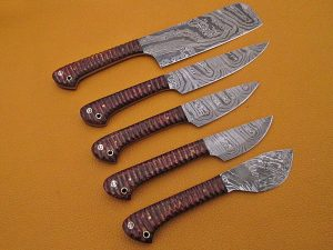 """5 Pieces Damascus steel kitchen knife set includes (10.6+9.6+9.0+8.0+7.6)"""" knives in Brown Jigged wood scale, includes Roll able Leather suede sheath"""