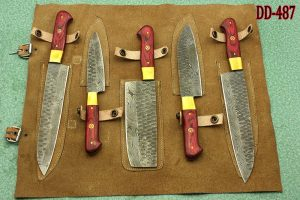 """5 Pieces Hammered Damascus steel kitchen knife set, Over 50"""" long Damascus steel knives in 2 tone Red wood scale, includes Roll able Leather suede sheath"""