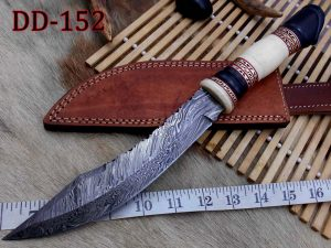"13.5 Inches long Hand Forged Damascus hunting Bowie Knife 8"" blade. Camel bone, engraved brass & horn exotic scale cow hide leather sheath"