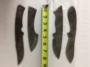 4 Pieces Damascus Steel Blank Blade Set, 7, 8, 9 and 9.5, inches Long Hand Forged Blank Blade Skinning Knife Set, 2.5 to 4.5 inches Long Cutting Edge, Compact Pocket Knife and Skinning Knife Blades