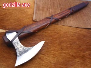 Hand forged Carbon steel Tomahawk Godzilla Axe, Hunting Axe, hiking battle axe Rose wood scale with leather wrap