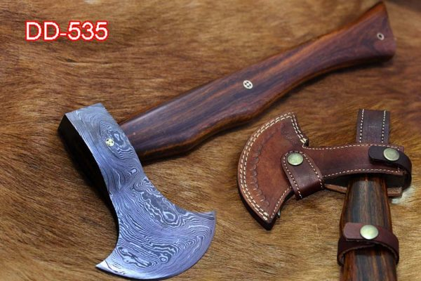 Damascus steel Log splitter axe, 15 Inches long Hand Forged with Rose wood round handle Timmerbila Axe, thick cow hide leather sheath