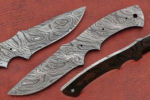 "8.5"" long Damascus steel drop point blank blade, 4"" cutting edge"