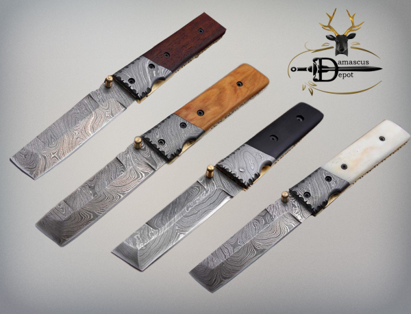"""7.5"""" Damascus steel tanto folding knife With sheath, 4 colors lot"""