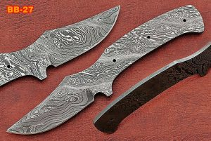 "8"" Trailing point Damascus steel blank blade pocket knife with 3.5"" cutting"
