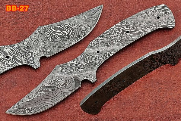 """8"""" Trailing point Damascus steel blank blade pocket knife with 3.5"""" cutting"""