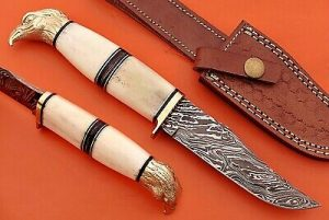 "10"" trailing point blade custom skinning knife with eagle pomel, Leather sheath"