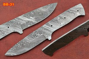"9"" sstraight back Damascus steel blank blade skinning knife with 4"" cutting"