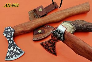 "15"" long Cabin Axe, Carbon steel Axe with skull etching, Rose wood, Cow sheath"