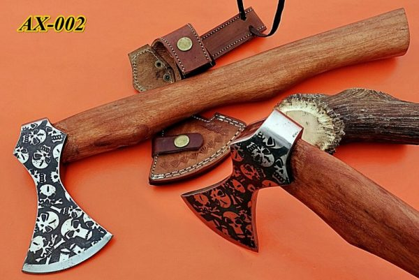"""15"""" long Cabin Axe, Carbon steel Axe with skull etching, Rose wood, Cow sheath"""
