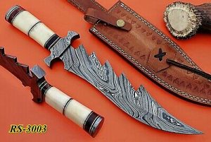 "13"" Long hand forged Damascus steel Hunting knife, Camel Bone scale with Damascus finger guard, Cow Leather sheath Included"