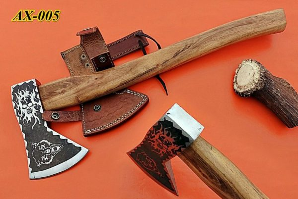 """15"""" long Tomahawk Axe, Carbon steel Axe with Wolf etching, Rose wood, Cow sheath"""
