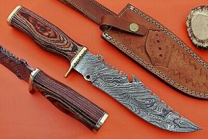 "13"" Long hand forged Damascus steel gut hook Hunting knife, 2 tone wood scale with brass finger guard, Cow Leather sheath Included"