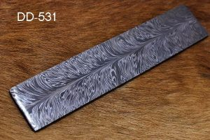 "10"" long custom made feather pattern hand forged Damascus steel bar"
