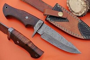"9"" Long trailing point Damascus Steel skinning Knife, Walnut wood, Sheath"