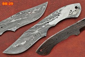 "7.75"" trailing point Damascus steel blank blade pocket knife with 3.25"" cutting"