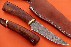 "9"" trailing point blood groove blade skinning knife, Walnut wood, Leather sheath"